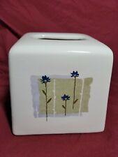 Floral Ceramic Tissue Cover Blue Beige