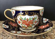 ANTIQUE AYNSLEY IMARI HAND PAINTED COBALT BLUE/GILD GOLD/ORANGE TEACUP & SAUCER