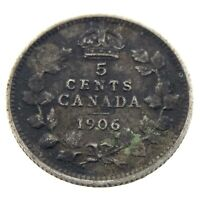 1906 Canada 5 Cents Small Silver Circulated Canadian Edward VII Coin N252
