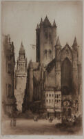 Edward Sharland - Early 20th Century Etching, The Belfry, Ghent