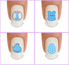 Nail Art E708 Happy Easter Egg Bunny Ears Blue Waterslide Nail Decal Transfers