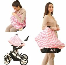 Nursing Cover Infinity Scarf Car Seat Cover/Canopy PINK/WHITE - NEW - UK STOCK!
