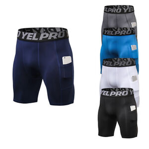 Mens Compression Shorts Gym Workout Running Basketball Boxers Trunks with Pocket