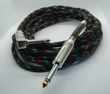 More details for pulse guitar lead straight to right angle jack black cloth braided cable 5m