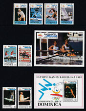 Dominica 1992 Used FU Full Set Minisheets Barcelona Olympics Sports Rowing Swim