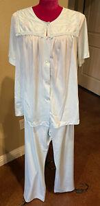 Vintage Shadowline 2pc set pajamas nylon Blue Sailor Collar Short Sleeve L 38