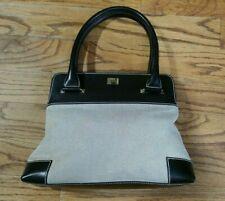 Lambertson Truex BLACK Leather Canvas Shoulder Bag PURSE GOOD CONDITION