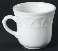 Pier One Ceramic Cup Mug Basket Relief White Standard Size Made in Italy EUC
