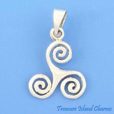 Triskelion Triskele Three Spirals Sign Symbol .925 Solid Sterling Silver Pendant