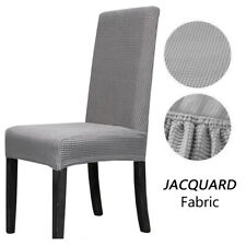 2pcs Stretch Washable Dinning Chair Slipcover Grey Long Back Seat Covers UK