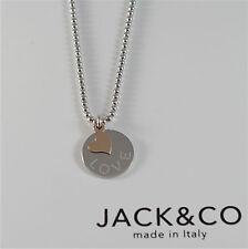 COLLANA A PALLINE IN ARGENTO 925 JACK&CO CON CUORE IN ORO ROSA 9KT JCN0545