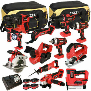 Excel EXL5149 18V 12 Piece Power Tool Kit with 4 x Batteries Smart Charger & Bag