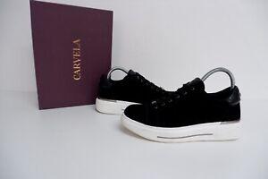 Carvela NEW BLACK VELVET Trainers Sneakers Size 40 Uk 7 Bnib Rrp £115 JUBILATE