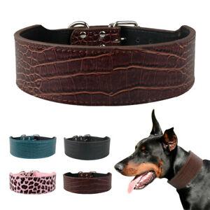 5cm Wide Croc Leather Medium Large Pet Dog Collar Rottweiler Leopard Brown Black