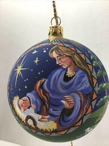 "PIPKA'S ""Mary & Christ Child"" Polish Hand Painted Glass Ball (13""C) Ornament"