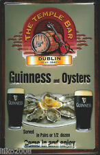 GUINNESS,/OYSTERS/TEMPLE BAR EMBOSSED METAL ADVERTISING SIGN 30X20cm, IRISH BAR