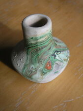 Delightful Nemadji Pottery Miniature Small Vase , Very Colorful , Marked