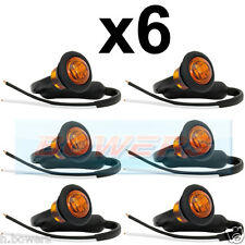 6x 12V/24V AMBER SMALL ROUND LED BUTTON SIDE MARKER LAMP/LIGHTS UNIVERSAL TRUCK