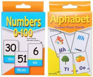 A-Z Alphabet Flash Cards Set Numbers Educational Learning Picture & Letter Kids