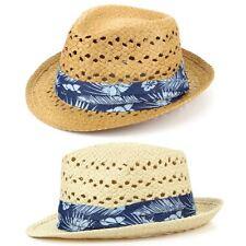 Trilby Hat Straw Fedora Cap Mens Unisex Brim Hawkins BAND Hibiscus Hawaii Flower