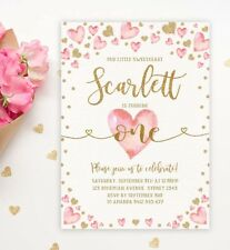 Valentines Day First 1st Birthday Invitation Pink Gold Hearts Girl Party Invite