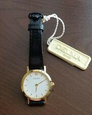 Delma ladies vintage watch SWISSMADE Quartz Movement Gold Plated Leather Band