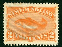Canada 1887 Newfoundland 2 Cent Red Orange Fish Scott #48 VFU Z823