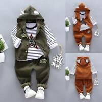 UK Toddler Kids Baby Boys Outfits Hooded Coat Tops T-shirt Pants Tracksuit Set