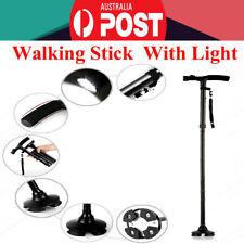 Black Metal Walking Stick Cane Folding With Light LED Strap Handle Adjustable OZ