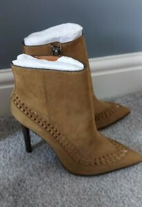*NEW ALLSAINTS LADIES SIZE 5 TAN SOFT NUBUCK LEATHER HIGH HEEL ANKLE BOOTS*