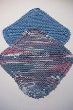 "2 hand knit 100% cotton dishcloths approx 8"" square blue/blue,lavender vari"