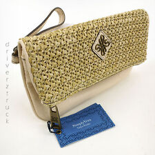 SIMPLY VERA WANG Natural RAFFIA & CREAM WRISTLET Foldover CLUTCH with GOLD Tone