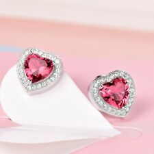 Elegant Women Vintage Red Heart Garnet Crystal Stud Earrings Engagement Jewelry