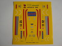 F1 DECALS KIT 1/43 LOTUS 81 F1 1980 ANDRETTI-DE ANGELIS 1/43  FDS AUTOMODELLI