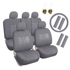 Universal Fit 17pcs Car Seat Cover Front + Rear Seat Protector Grey w/Seat Pads