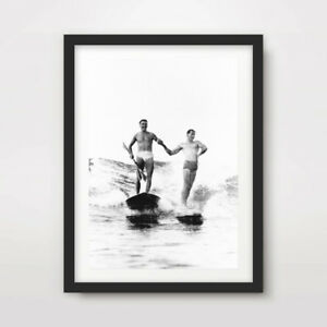 BLACK WHITE VINTAGE SURFING SURFER ART PRINT Poster Home Decor Wall Picture