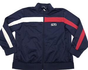 Fila Mens Navy Blue/Red/White Colorblock Full Zip Track Jacket Sz 2Xl