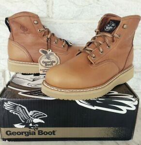 Georgia Mens Wedge Steel Toe Farm & Ranch Work Boots Sz 10 Barracuda Gold G6342