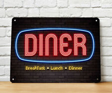 Diner Neon light brick wall Metal Sign -  American 50's Diner Wall A4 Bar Sign