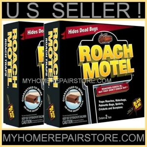 4 / $12 ! BLACK FLAG—ROACH MOTEL—2 BOXES OF 2—INSECTICIDE FREE—BAITED GLUE TRAPS
