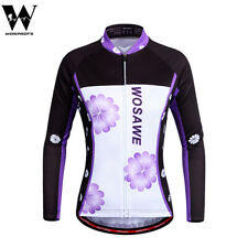 Ladies Cycling Jersey Quick Dry Women Sports Long Sleeve Purple Tops MTB Bike