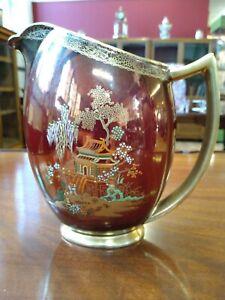 "Vintage Carlton Ware ,""Rouge royale"" Chinese pagoda , display jug hand-painted."