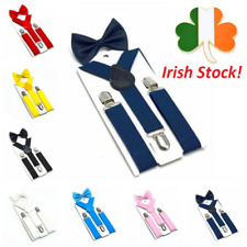 Kids Suspenders with Bow Tie Adjustable Y-Back Clip On Braces Boy Girl Elastic