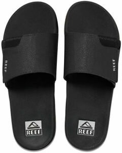 Reef Fanning Slide Mens Shoes Black Silver