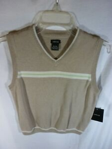 Boy's Claiborne Tan with White & Green Stripe Sweater Vest, Size 7X