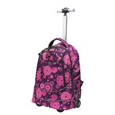 """Horizon 20"""" Carry-on Purple Pink Dot Rolling Wheels Laptop Backpack Shoulder Bag"""