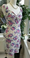 Jane Norman Size 8/10 Cream & Pink Floral Bodycon Pencil Dress ~ VGC
