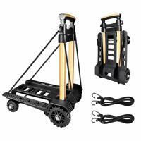 UK Folding Hand Truck Portable Dolly Utility Luggage Cart 70Kg/155Lbs 4 Wheels