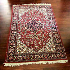 "4' X 6'5""  Vintage Distressed Hand Made Persian Heriz Medallion 100% Wool Rug"