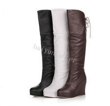 Fashion Women's Wedge High Heel PLatform PU Leather Knee High Boots Shoes UK Sz